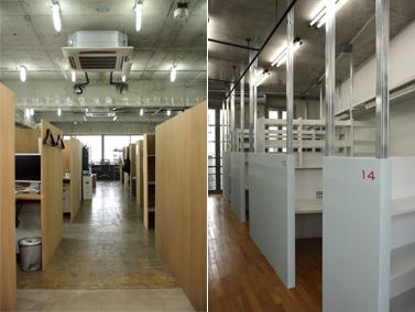 長屋システム:ブース写真 (左)三番町、(右)西麻布