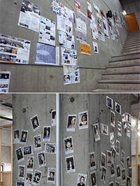 交流支援:co-lab内の壁、柱を利用した全入会クリエイター紹介